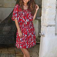 Rayon tunic-style dress, 'Strawberry Bouquet' - Floral Rayon Tunic-Style Dress in Strawberry from Bali