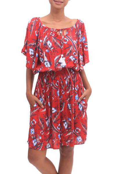 Floral Rayon Tunic-Style Dress in Strawberry from Bali
