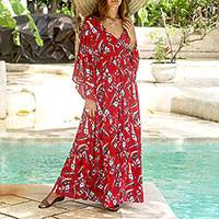 Rayon caftan, 'Strawberry Bouquet' - Floral Rayon Caftan in Strawberry from Bali