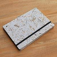 Recycled paper journal, 'Dluwang Bamboo' (8 inch) - Recycled Paper and Bamboo Journal from Java (8 in.)