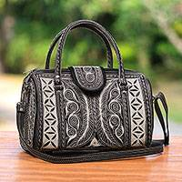 Cotton handbag, 'Samosir Alabaster' - Cotton Handbag With Alabaster Hand Embroidery from Bali