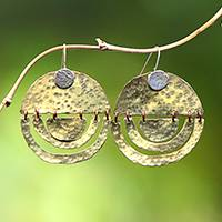 Sterling silver and brass dangle earrings, 'Kuta Glimmer' - Modern Sterling Silver and Brass Dangle Earrings from Bali