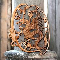 Wood relief panel, 'Antaboga Dragon' - Antaboga Dragon Hand Carved Wood Relief Wall Panel from Bali