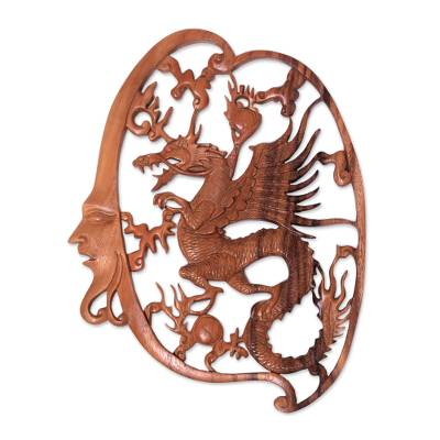 Antaboga Dragon Hand Carved Wood Relief Wall Panel from Bali