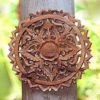 Wood wall relief panel, 'Exquisite Lotus' - Blooming Lotus Hand Carved Circular Wood Relief Wall Panel