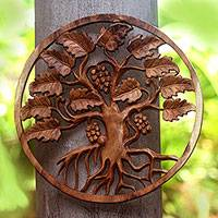Wood relief panel, 'Grape Tree' - Tree-Themed Suar Wood Relief Panel from Bali
