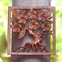 Wood wall relief panel, 'Plumeria Tree' - Plumeria Tree Hand Carved Square Wood Relief Wall Panel