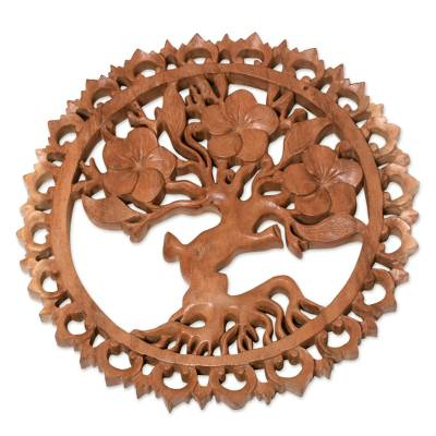 Wood relief panel, 'Jepun's Aura' - Plumeria Tree Hand-Carved Circular Wood Relief Wall Panel
