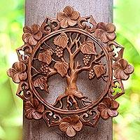 Wood wall relief panel, 'Buleleng Vines' - Grape Tree Hand Carved Circular Wood Relief Wall Panel