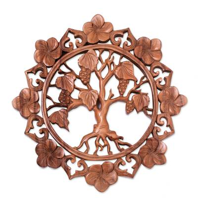 Wood relief panel, 'Buleleng Vines' - Grape Tree Hand Carved Circular Wood Relief Wall Panel