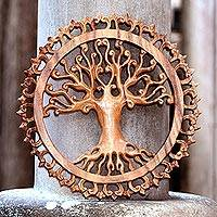 Wood wall relief panel, 'Bali Tree of Life' - Ornate Tree Hand Carved Circular Wood Relief Wall Panel