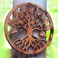 Wood relief panel, 'Teak Tree' - Teak Tree Hand Carved Circular Wood Relief Wall Panel