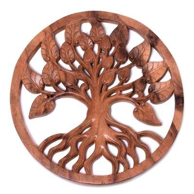 Wood relief panel, 'Teak Tree' - Teak Tree Hand Carved Circular Wood Relief Wall Panel