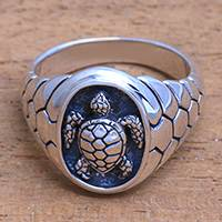 Men's sterling silver ring, 'Gallant Turtle' - Men's Sterling Silver Sea Turtle Ring from Bali