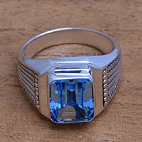Men's blue topaz single-stone ring, 'Temple Glitter' - Men's Blue Topaz Single Stone Ring from Bali