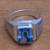 Men's blue topaz single-stone ring, 'Temple Glitter' - Men's Blue Topaz Single Stone Ring from Bali (image 2) thumbail