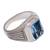 Men's blue topaz single-stone ring, 'Temple Glitter' - Men's Blue Topaz Single Stone Ring from Bali (image 2e) thumbail