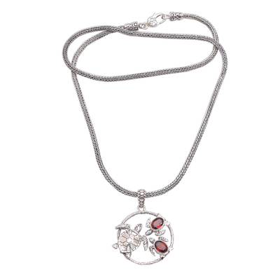 Garnet pendant necklace, 'Sea Turtle Family' - Garnet Sea Turtle Pendant Necklace from Bali