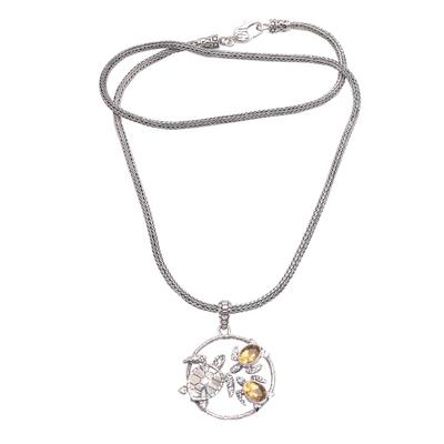 Citrine pendant necklace, 'Sea Turtle Family' - Citrine Sea Turtle Pendant Necklace from Bali