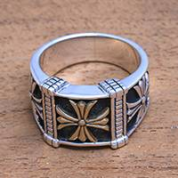 Men's sterling silver band ring, 'Triple Cross' - Men's Cross Motif Sterling Silver Band Ring from Bali