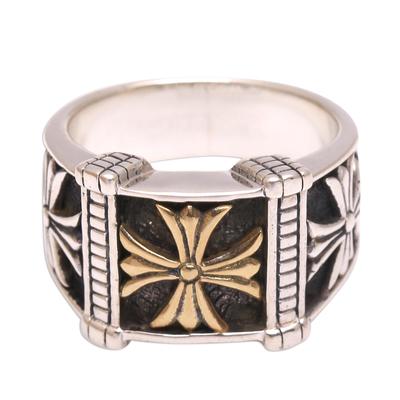 Men's sterling silver band ring, 'Triple Cross' - Men's Cross Motif Sterling Silver Band Ring from Bali