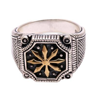 Men's sterling silver ring, 'Bali Inspiration' - Men's Star Motif Sterling Silver Ring from Bali