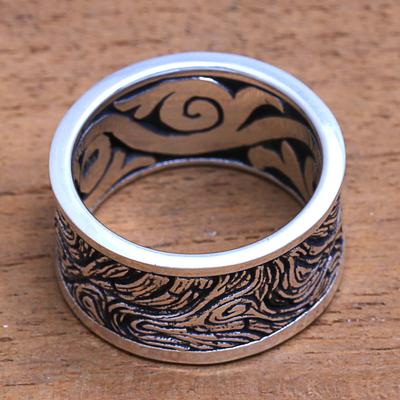 Men's sterling silver band ring, 'Sandstorm' - Men's Textured Sterling Silver Band Ring from Bali
