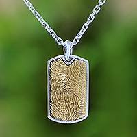 Men's sterling silver pendant necklace, 'Golden Fur'