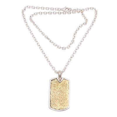 Men's sterling silver pendant necklace, 'Golden Fur' - Men's Sterling Silver and Brass Pendant Necklace from Bali