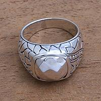 Men's sterling silver ring, 'Shining Pebble' - Men's Sterling Silver Ring Crafted in Bali
