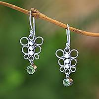 Peridot dangle earrings, 'Round Butterfly' - Circle Motif Peridot Dangle Earrings from Bali