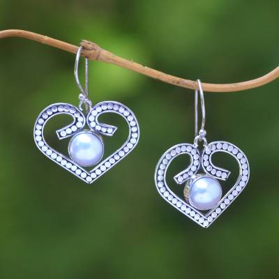 Cultured pearl dangle earrings, 'Center of Love' - Heart-Shaped Cultured Pearl Dangle Earrings from Bali