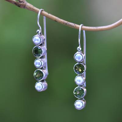 Peridot and cultured pearl drop earrings, 'Beautiful Constellation' - Peridot and Cultured Pearl Drop Earrings from Bali