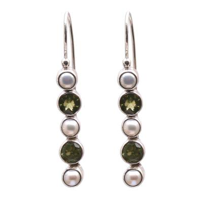 Peridot and Cultured Pearl Drop Earrings from Bali