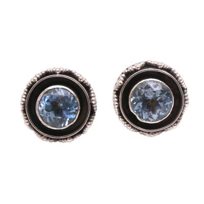 Sparkling Blue Topaz Stud Earrings from Bali
