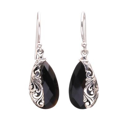 Drop-Shaped 5-Carat Onyx Dangle Earrings from Bali