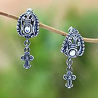 Sterling silver dangle earrings, 'Celuk Cross' - Sterling Silver Cross Dangle Earrings from Bali