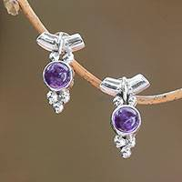 Amethyst drop earrings, 'God's Grapes' - Dot Motif Amethyst Drop Earrings from Bali