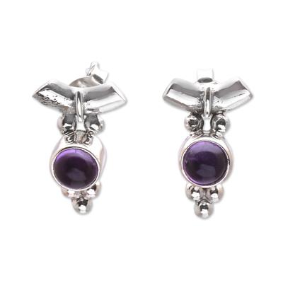 Dot Motif Amethyst Drop Earrings from Bali