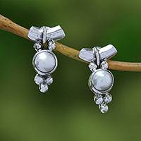 Cultured pearl drop earrings, 'God's Grapes' - Dot Motif Cultured Pearl Drop Earrings from Bali
