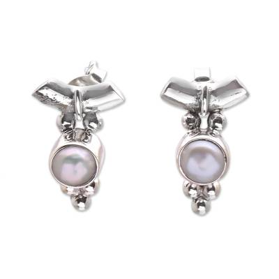 Dot Motif Cultured Pearl Drop Earrings from Bali