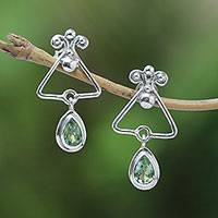Peridot dangle earrings, 'Triangle Drops' - Triangular Peridot Dangle Earrings from Bali