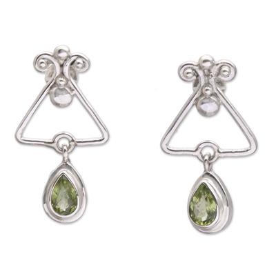 Triangular Peridot Dangle Earrings from Bali