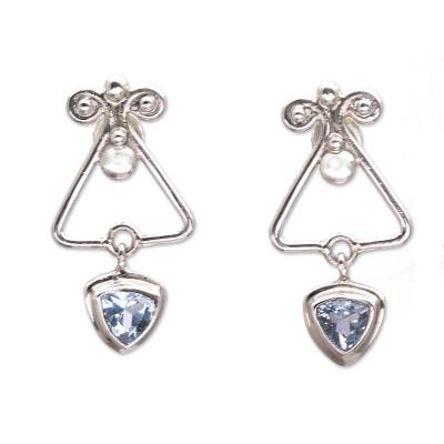 Triangular Blue Topaz Dangle Earrings from Bali
