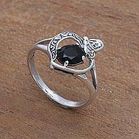 Onyx single-stone ring, 'Perched Butterfly' - Onyx Butterfly Single-Stone Ring from India
