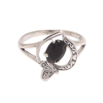Onyx Butterfly Single-Stone Ring from India