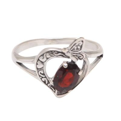 Garnet Butterfly Single-Stone Ring from India