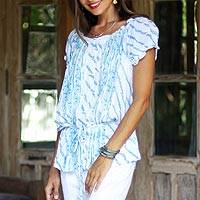 Rayon off-the-shoulder blouse, 'Azure Helix' - Helix Motif Rayon Off-The-Shoulder Blouse from Bali