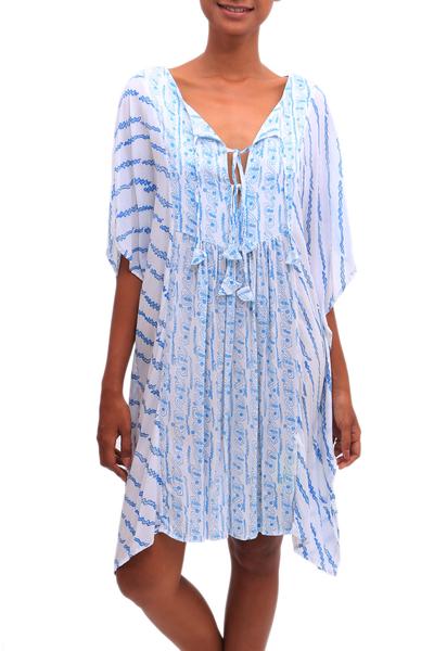 Helix Motif Rayon Short-Sleeve Tunic-Style Dress from Bali