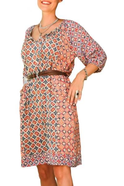 Printed Rayon Tunic-Style Dress Crafted in Bali